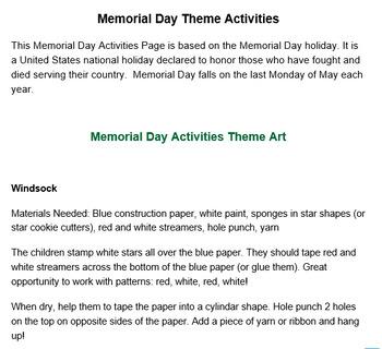 PRESCHOOL LESSON PLAN and ACTIVITIES- Memorial Day Week