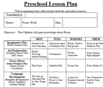 PRESCHOOL LESSON PLAN and ACTIVITIES- Picnic Week
