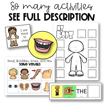 PRESCHOOL: BODY PARTS Flashcards, Following Directions, Stomp Mat Game, Matching