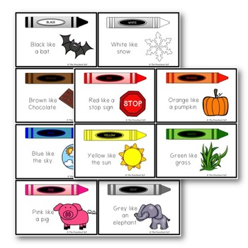 PRESCHOOL Learning Colors Using Associations: Flash Cards, Mini Book, Activities