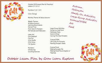 PRESCHOOL October Lesson Plan Ideas