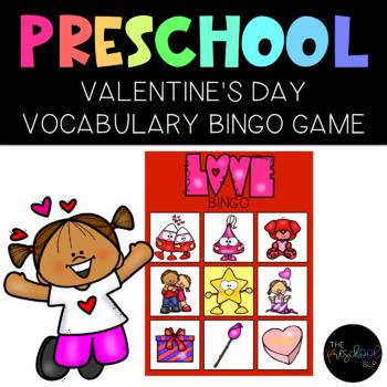 THE PRESCHOOL SLP: Valentine's Day Vocabulary BINGO