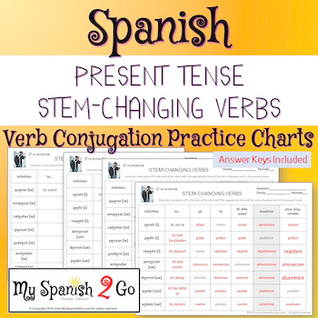 Stem Changing Verbs Practice Spanish Worksheets Teaching