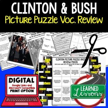 PRESIDENT CLINTON Picture Puzzle Unit Review, Study Guide, Test Prep