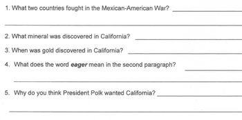 History PRESIDENT JAMES POLK -GOLD RUSH worksheet 5 Read Comprehension Questions