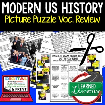 PRESIDENT OBAMA Picture Puzzle Unit Review, Study Guide, T