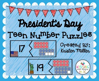PRESIDENT'S DAY Teen Number Math Puzzles 11-20