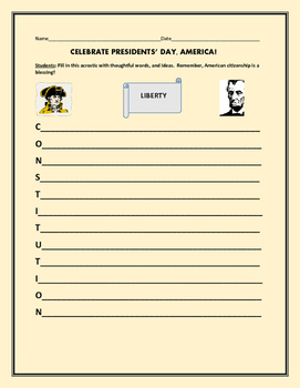 PRESIDENTS' DAY ACROSTIC