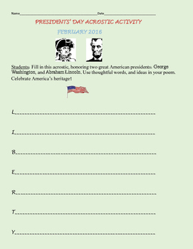PRESIDENTS' DAY ACROSTIC ACTIVITY, GRADES 4-6
