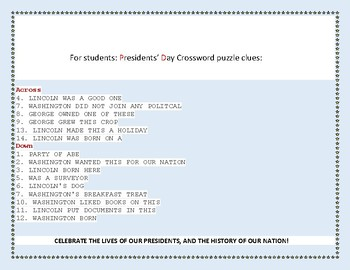 PRESIDENTS' DAY CROSSWORD: HAVE FUN &  TAKE THE CHALLENGE!