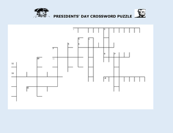 PRESIDENTS' DAY CROSSWORD PUZZLE