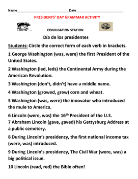 PRESIDENTS' DAY GRAMMAR ACTIVITY- GRADES 2-5, ESL