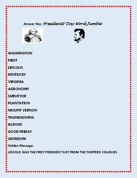 PRESIDENTS' DAY WORD JUMBLE PUZZLE!