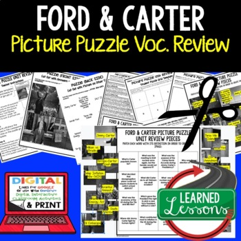 PRESIDENTS FORD AND CARTER Picture Puzzle Unit Review, Study Guide, Test Prep
