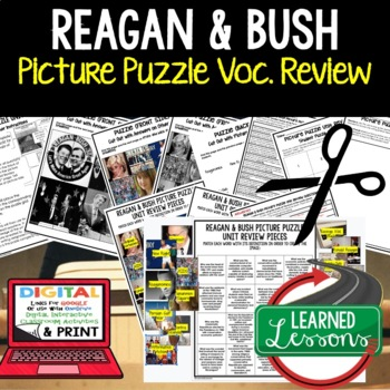 PRESIDENTS REAGAN AND BUSH Picture Puzzle Unit Review, Study Guide, Test Prep