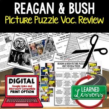 PRESIDENTS REAGAN AND BUSH Picture Puzzle Unit Review, Stu