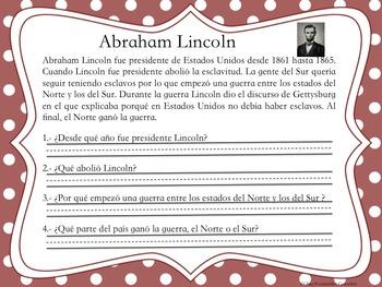 PRESIDENTS UNIT (WASHINGTON, LINCOLN AND OBAMA) SPANISH