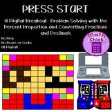 PRESS START Digital Escape Breakout Fractions, Decimals & Percent
