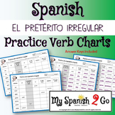 PRETERITE:  Irregular Preterite Practice Conjugating Verb Charts