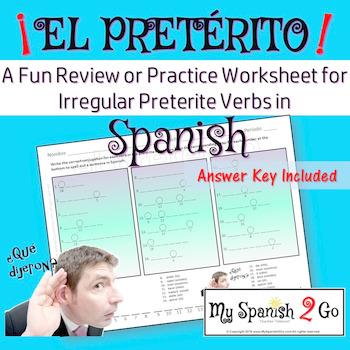 Preterite Tense Irregular Verbs A Fun Practice Or Review In Spanish