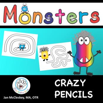 FINE MOTOR Crazy Pencils - monster theme