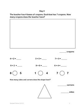 PREVIEW First Grade Daily Math Warm Ups