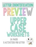 PREVIEWUppercase letter and sounds worksheets for Pre K an