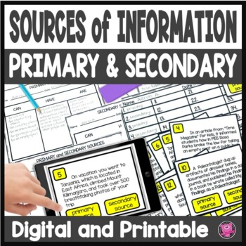 Primary and Secondary Resource Tasks Cards Lesson and Posters