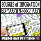 Primary and Secondary Sources Activities