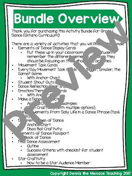 PRIMARY Dance Activity Bundles (Gr.1-3) Based on Ontario Curriculum
