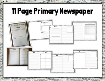PRIMARY NEWSPAPER UNIT - Packets, Worksheets, Prompts, Template, LPs & More!