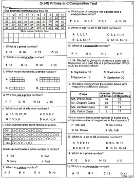 Prime and Composite Numbers Tests (21 worksheets)
