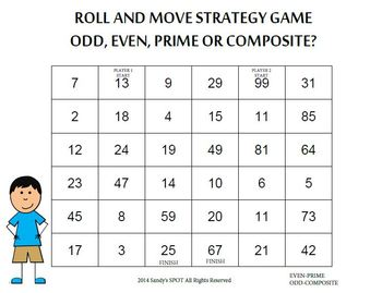 PRIME, COMPOSITE, EVEN & ODD ROLL AND MOVE STRATEGY GAME VIRGINIA SOL