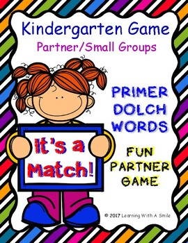 PRIMER Dolch Word Game - IT'S A MATCH! - Fun Partner Game