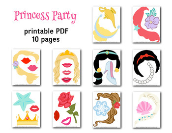 PRINCESS Photobooth Props Digital Princess Photo Booth Props Party Printable