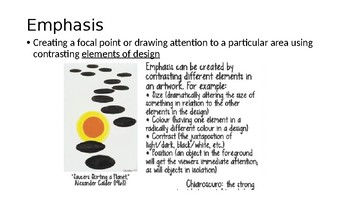 PRINCIPLES OF DESIGN, 15 SLIDES, GRADE 6 7 8, ONTARIO CURRICULUM FOR THE ARTS