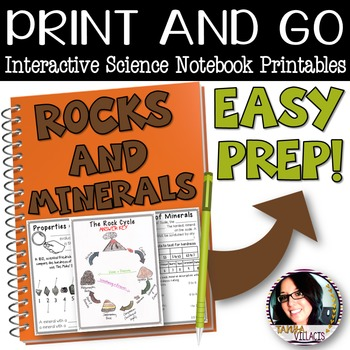 PRINT AND GO Interactive Science Printables for ROCKS AND MINERALS *EASY PREP