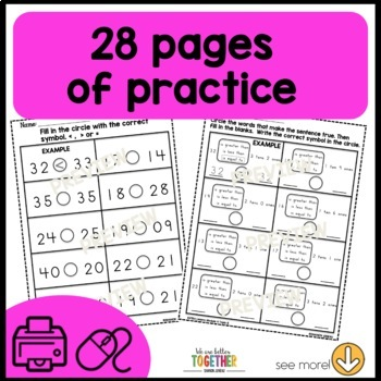Math Worksheets [Greater than, Less than]