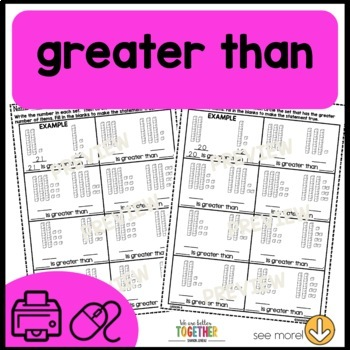 Math Worksheets Greater than, Less than