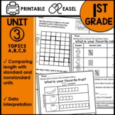 1st Grade Math Worksheets Graphing & Measuring Print and Go Printables