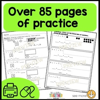 Math Worksheets [make a ten, take from ten]