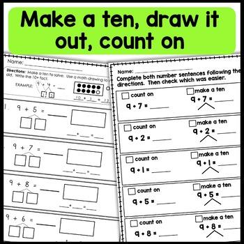 1st Grade Math Worksheets  Make a Ten, Take From Ten  Independent Work Packets