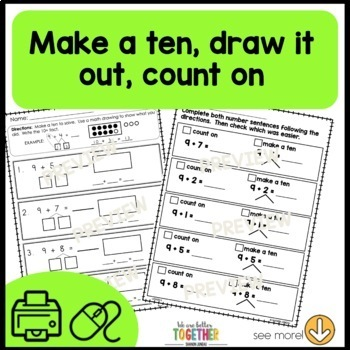First Grade Math Worksheets   Make a Ten and take from Ten   Print or Digital