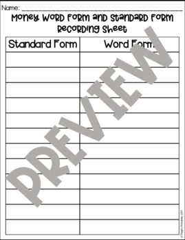 PRINT AND GO Money Center: Standard and Word Form Matching Game