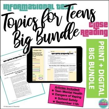 PRINT & DIGITAL BIG BUNDLE Topics for Teens Close Reading Articles