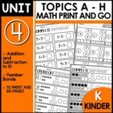 PRINT and GO Math Worksheets for Kindergarten Module 4