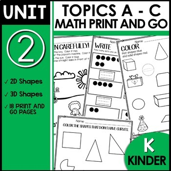 PRINT and GO Math Sheets for Kindergarten (Unit 2)