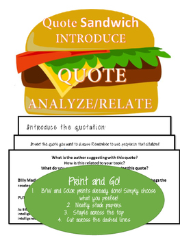 PRINT and GO! Quote Sandwich Foldable Notes