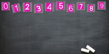 PRINTABLE, Preppy, Black/White/Pink, Chevron Numbers for Teachers