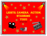 Lights, Camera, Action Movie Theme Speech Bulletin Board Set